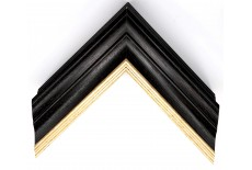 Open Grain Black & Grey Wash with Gold Lip Large Traditional Moulding