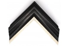 Open Grain Black & Grey Wash with Silver Lip Large Traditional Moulding