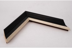 Medium Traditional Shaped Open Grain Black Moulding with Wash and Silver Lip
